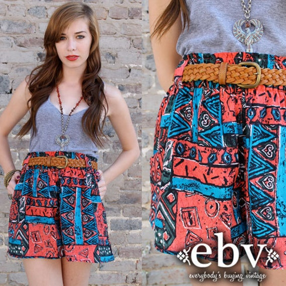 Vintage 80's High Waisted Hippie BOHO Festival TRIBAL Southwestern Print Cotton Shorts S M L