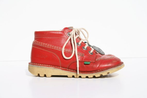 Items similar to Vintage Red Leather Kickers - UK 2.5 - EU ...