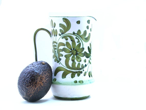 Italian pitcher - vintage imported midcentury italy avacado green tuscan provencal country wine cream kitchen french farmhouse ceramic art