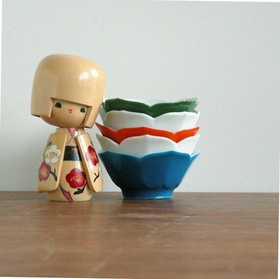 Five lotus bowls - vintage japan white blue orange green porcelene japanese set  finger soy sauce dip drink mid century modern asian pottery