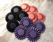Paper Rosettes Flowers in Halloween / Fall Colors - 12 pcs