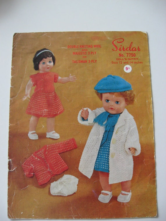 Vintage Knitting Patterns Dolls Clothes : Vintage 1960s knitting pattern for dolls clothes by ...