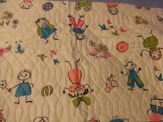 Fabric Vintage Quilted Children Stick Figures Very Cute