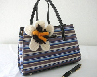 Vintage Style Purse adorned with a felted sweater flower