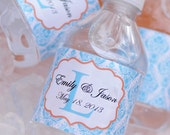 Waterproof Water Bottle Labels - 75 Printed with your wedding colors-Waterproof and self stick