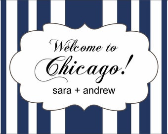 "50 4"" x 3"" Wedding Welcome Bag/Box Labels - Striped Wedding Stickers"