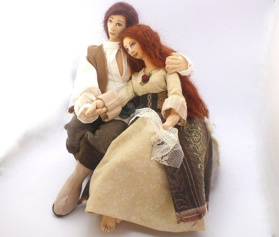 PROMISE art cloth doll couple soft sculpture fairy tale