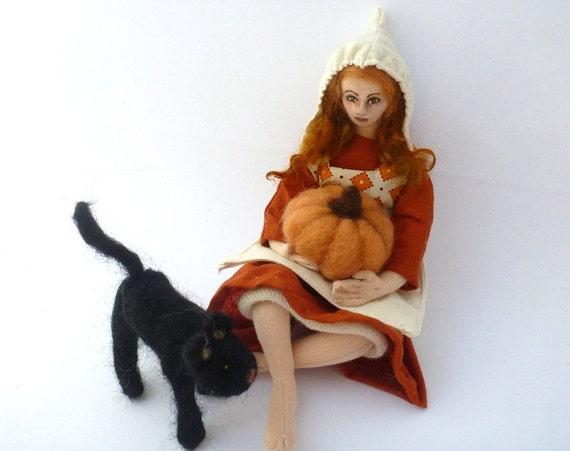 RESERVED for Dee - Art doll cloth girl soft sculpture needlefelt pumpkin black cat Bounty