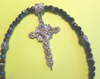 Silver Marcasite Cross, 1980s Silvertone Cross Pendant, Marcasite Cross Necklace, Cross with Irridescent Black Beads, Silver and Black Cross