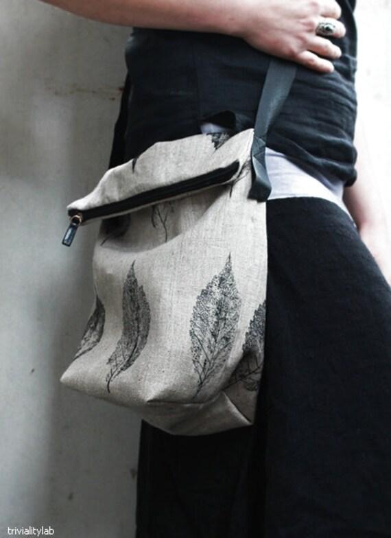 Handprinted Linen Bag x-chest