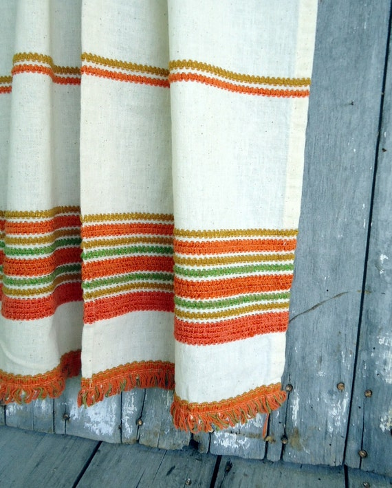 Funky Kitchen Curtains: Vintage Curtains Panels Window Treatment Set Fringe Retro
