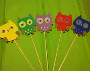 Owl Birthday Party Centerpiece Picks 5 pieces