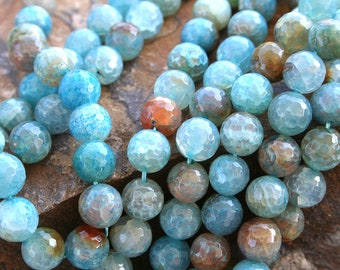 Blue Cherry Rainbow Agate(Heat Treated) 12mm Faceted Round Beads, 16 Inch Strand(G01038)
