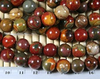 Natural Red Creek Jasper 10mm Round Bead, 16-Inch Strand(G01037)