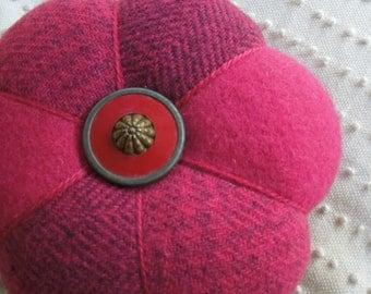 Pincushion - Felted Wool - Fuchsia  - Vintage  Button