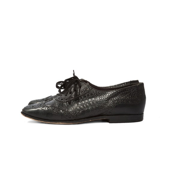 Alligator Texture Black Leather Oxfords Brogue Shoes Women's size 6