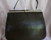 Vintage 60's Classic Faux Leather Brown Handbag by Naturalizer