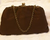 VTG Brown Organza Clutch with Optional Chain