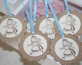 12 Vintage Inspired Alice in Wonderland Themed Gift Tags ~ Favour Tags