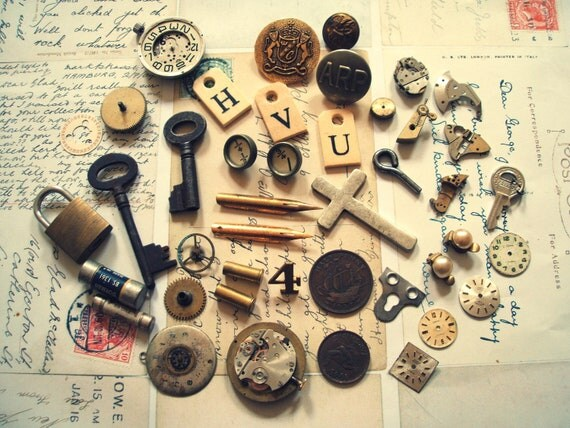 Mixed Vintage Steampunk Supply Lot 30 Plus Items