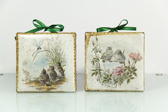 Ceramic Wall Tiles Hanging Birds Dragonfly Children Nature Woodland