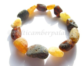 Raw Unpolished Multicolor Baltic Amber Bracelet