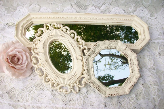 Shabby Chic Mirrors Set of 3, Vintage Wall Mirrors, Small Creamy White Accent Mirror Collection, French Country, Beach Cottage, Home Decor