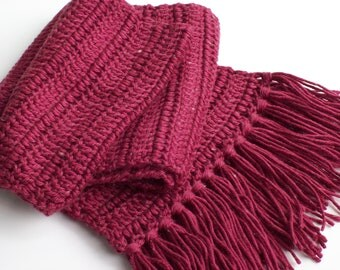 Crochet Red Neck Scarf with Red Fringe
