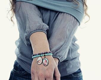 Jade Bracelet with Bird Charm. Bohemian Gemstone Jewelry in Purple. UK Seller