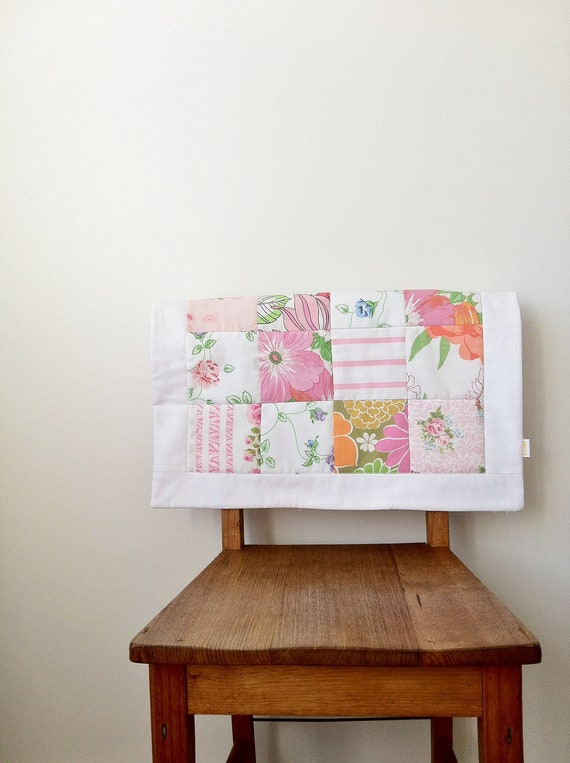 baby quilt / patchwork quilt in shades of pink, green and orange - for bassinet, pram or change mat