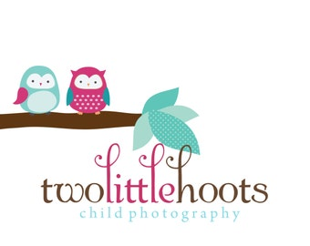 Premade Logo and watermark for Photographers, bloggers and small crafty boutiques Two Owls on Branch