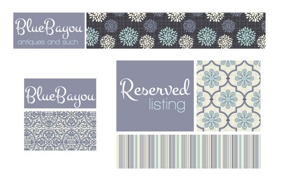 Premade Etsy Banner and Avatar Set for Small Crafty Boutiques Blue Floral and Stripe Patterns