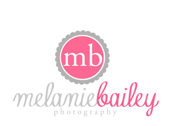 Premade Logo for Photographers and Small Crafty Boutiques Fuschia and Charcoal Scalloped Monogram