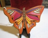 Gorgeous art deco 1920's-1930's die cut bridge tally card of a butterfly unused henderson line
