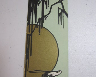 RESERVED Art deco 1920's-30's Buzza unused bridge tally gold gilded moon silhouette of tree and black and white bird