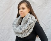 Chunky knit cowl , infinity scarf, tube scarf, winter accessory, scarf, neckwarmer  / Oban Warmer - grey marble