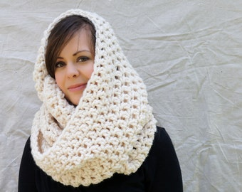 Chunky crochet winter scarf, infinity scarf, Dover chunky crochet Infinity scarf