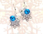 Icy Blue Jingle Bell Earrings with White Snowflakes