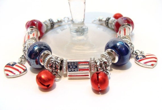 American Flag Charm Bracelet with European style Beads