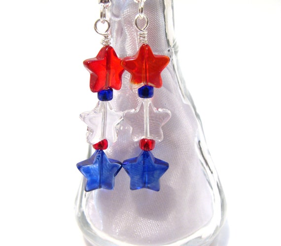 USA  Red, White and Blue Glass Star Dangle Earrings