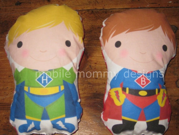 Super Hero Boy Plush Doll Personalized with Your Child's Initial (Choice of brown or blonde hair) Eco Friendly