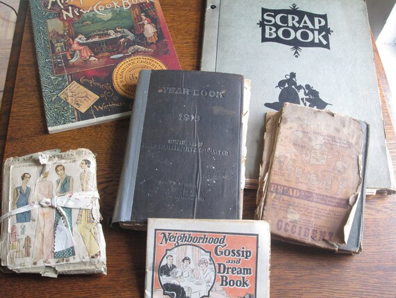 Vintage Housekeeping/ Early Cookbooks/ Advertising Bits/ Patterns Lot