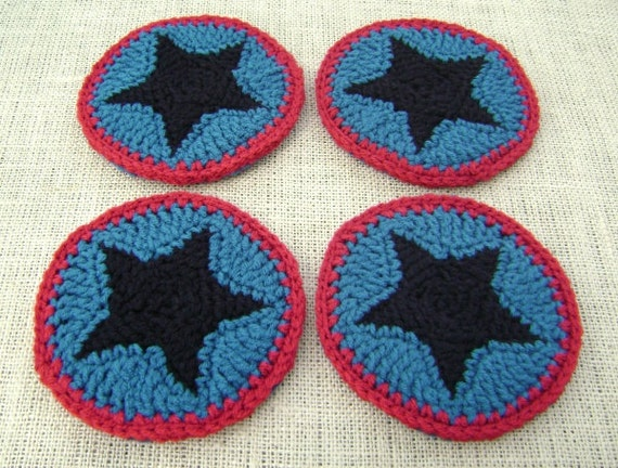 Crochet Coaster Set  Decoration   Teal and Ranch Red with Black Star