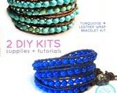 2 leather wrap bracelet kits: turquoise and lapis lazuli leather wrap beads supplies & instructions