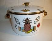 Vintage Georges Briard Porcelainite Enamelware Cooking Pot