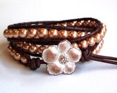 Golden Pearl Triple Wrap Leather Bracelet