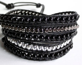 Little Black Dress - Black 5x Leather Wrap Bracelet Obsidian