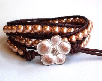 Golden Pearl Triple Wrap Leather Bracelet