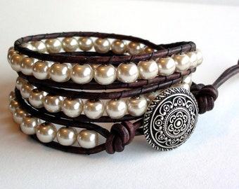 Purity II - Cream Pearl Triple Wrap Leather Bracelet