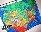 United States Map Children's Travel Quilt Wall Hanging or Playmat